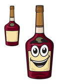 Cartoon  smiling alcohol bottle — Stockvector