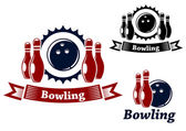 Bowling emblems with ball and ninepins — Stock Vector