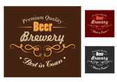 Brewery emblem or logo in retro style — Vector de stock