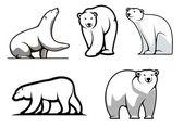 White polar bears set — Stock vektor