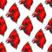 Red cardinal bird seamless pattern — Stock Vector