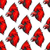 Red cardinal bird seamless pattern — Stock Vector