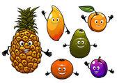 Cartoon fresh fruits set — Stock Vector