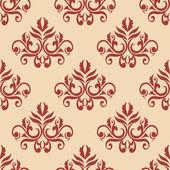 Red retro seamless pattern on beige backgrouund — 图库矢量图片