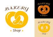 Pretzel bakery emblem — Stock Vector