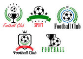 Football and soccer symbols or emblems — Stock Vector