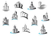 Office, telecommunication and residential buildings symbols — Vector de stock