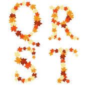 Autumn maples leaves letter — Stock Vector