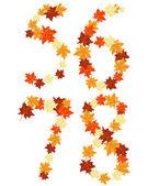 Letra de hojas de otoño maples — Vector de stock