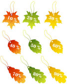 Maples leaves sale label — Stock Vector