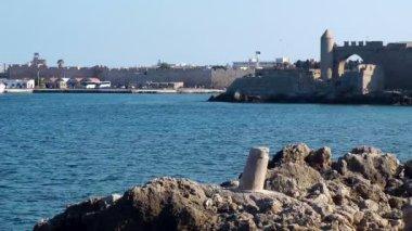 Rhodes city port. Rhodes island. Greece. — Stock Video