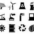 Electricity, power and energy icon set. - Stock Vector