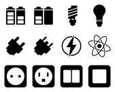 électricité et énergie jeu d'icônes — Vecteur