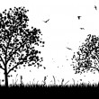 Royalty-Free Stock Vector Image: Meadow silhouettes