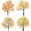 Set of four autumn tree — Stockvektor  #12904155