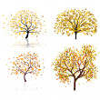 Set of four autumn tree — Stock Vector