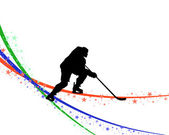 Hockey player silhouette — Stock Vector