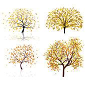 Set of four autumn tree — Stock Vector