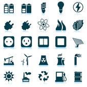 Conjunto de iconos de potencia y energía — Vector de stock