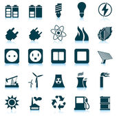 Power and energy icon set — Vector de stock