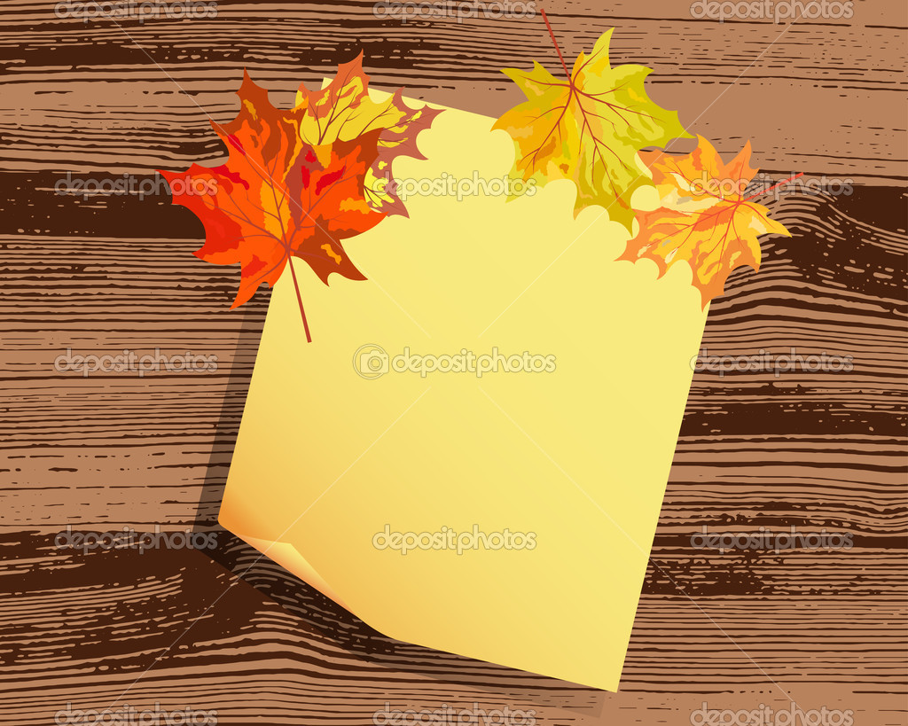 Autumn maple tree leaves on  wooden plank. Vector illustration.  Stock Vector #13898518