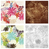 Floral Seamless Color Set — Stockvector