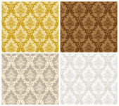 Damask Seamless Color Set — Stock Vector