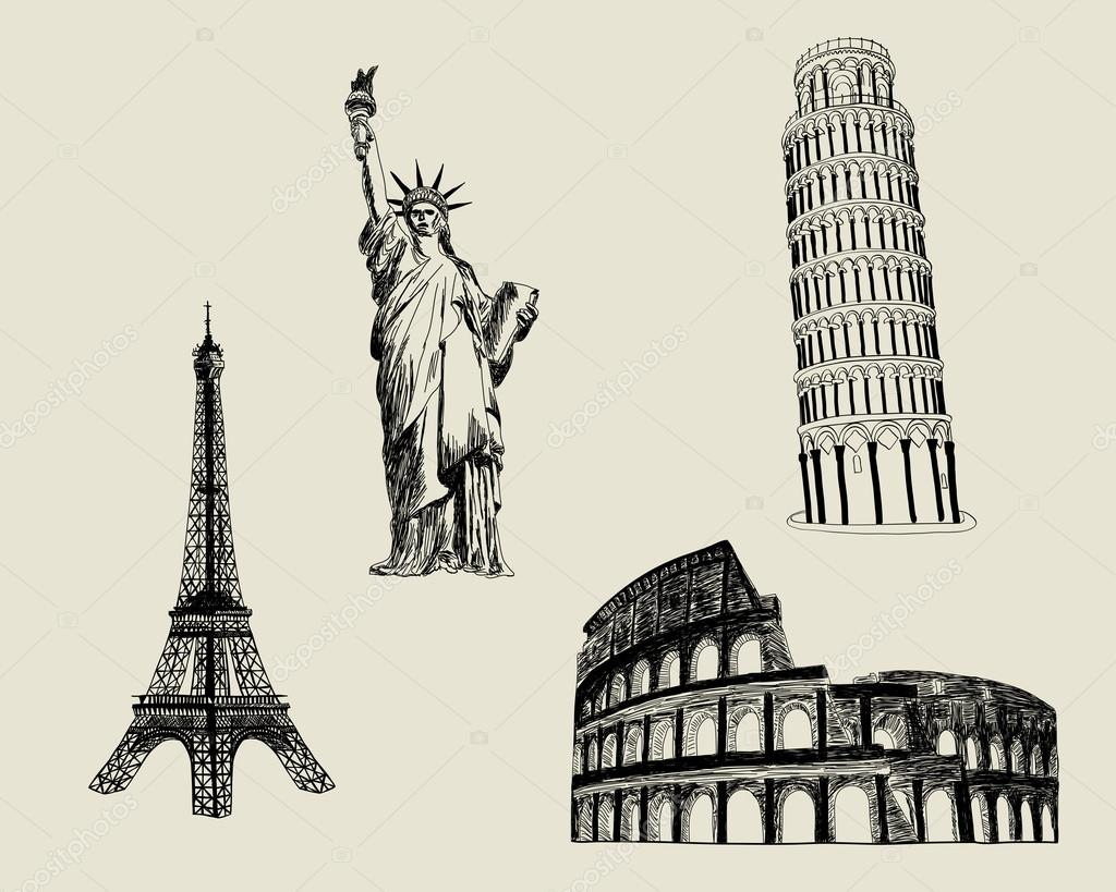 Set of European an American sketch landmark. EPS 8 vector illustration. — ベクター素材ストック #15614993