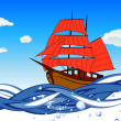 Sailboat With Scarlet Sail — Stock Vector