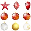 Stock Vector: Christmas Ball Set