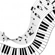 Royalty-Free Stock Vector Image: Musical note staff with piano keys