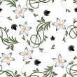 Flowers on white background. Seamless floral pattern — Stockvectorbeeld