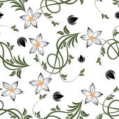 Flowers on white background. Seamless floral pattern — Stockvector
