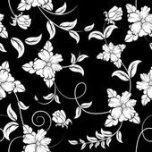 Seamless floral pattern. Flowers on black background — Stock Vector