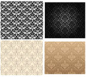 Damask seamless color pattern set — Stockvector