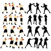Silueta de boxeo — Vector de stock