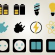 Electricity and energy icon set — Stok Vektör