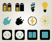 Electricity and energy icon set — Stock Vector