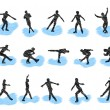 Set of figure skating grunge silhouettes — Stock Vector