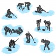 Set of curling player grunge silhouettes — Stock Vector