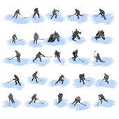 Set of hockey player grunge silhouettes — Stock Vector