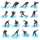 Set of ice-skating athlete grunge silhouettes — Stock Vector