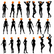 Naked sexy girls silhouettes — Vettoriale Stock