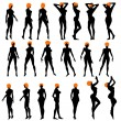Naked sexy girls silhouettes — Stock Vector