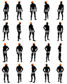 Set of men silhouettes — Stock Vector