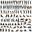 100 naked sexy girls silhouettes — Stock Vector