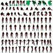 100 naked mens silhouettes — Stock Vector #49994923