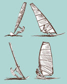 Windsurfing sketch — Stock Vector