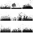Grass silhouette set — Stock Vector #50322023
