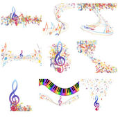 Multicolour  musical notes staff set — Stock Vector